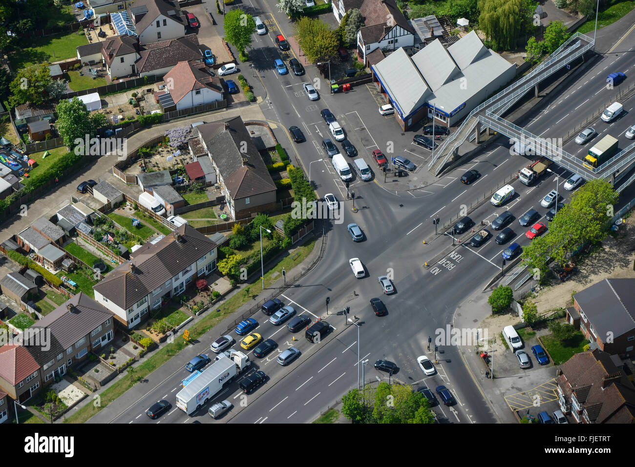 An aerial view of a suburban road junction - Stock Image