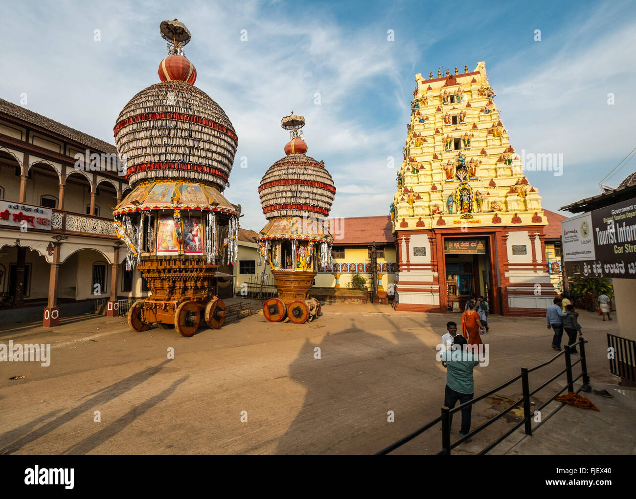 large ceremonial chariots at the krishna temple in udupi india FJEX40