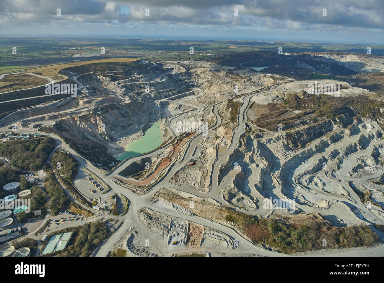 An aerial view of the China Clay works near St Austell in Cornwall - Stock Image
