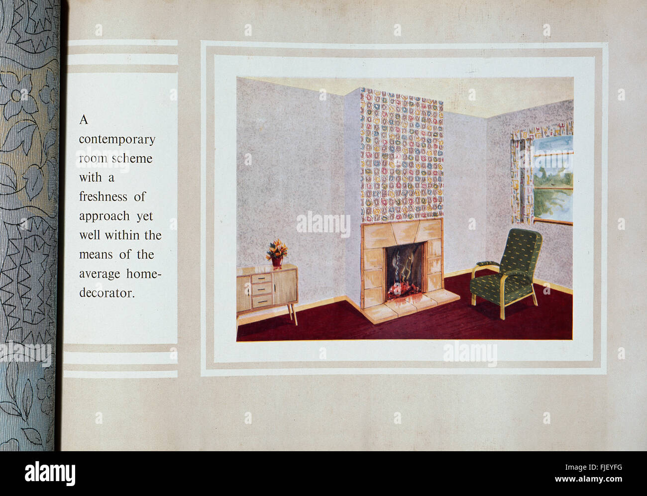 A page from a British 1950s wallpaper sample book, showing a typical livingroom of the period. - Stock Image
