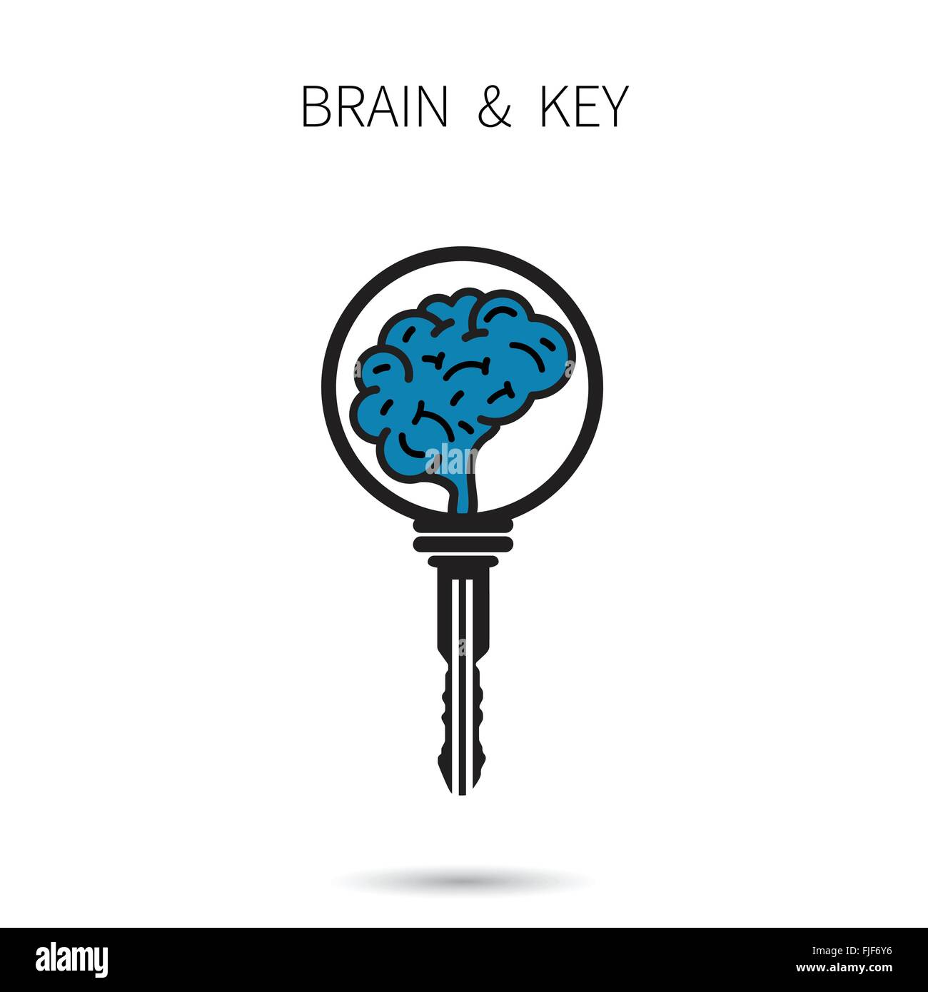 Creative Brain Sign With Key Symbol Key Of Success Business And