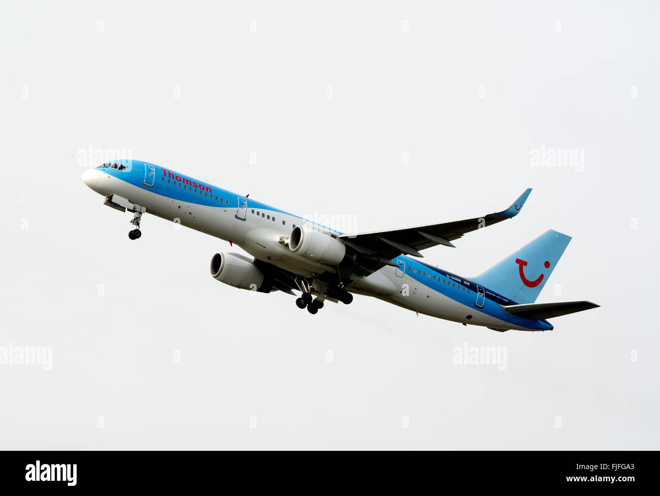 Thomson Boeing 757 taking off at Birmingham Airport, UK (G-OOBB) Stock Photo