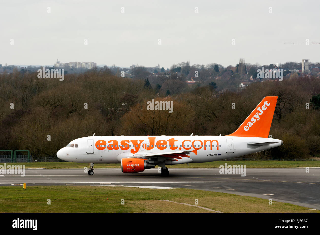Easyjet Airbus A318 about to take off at Birmingham Airport, UK - Stock Image