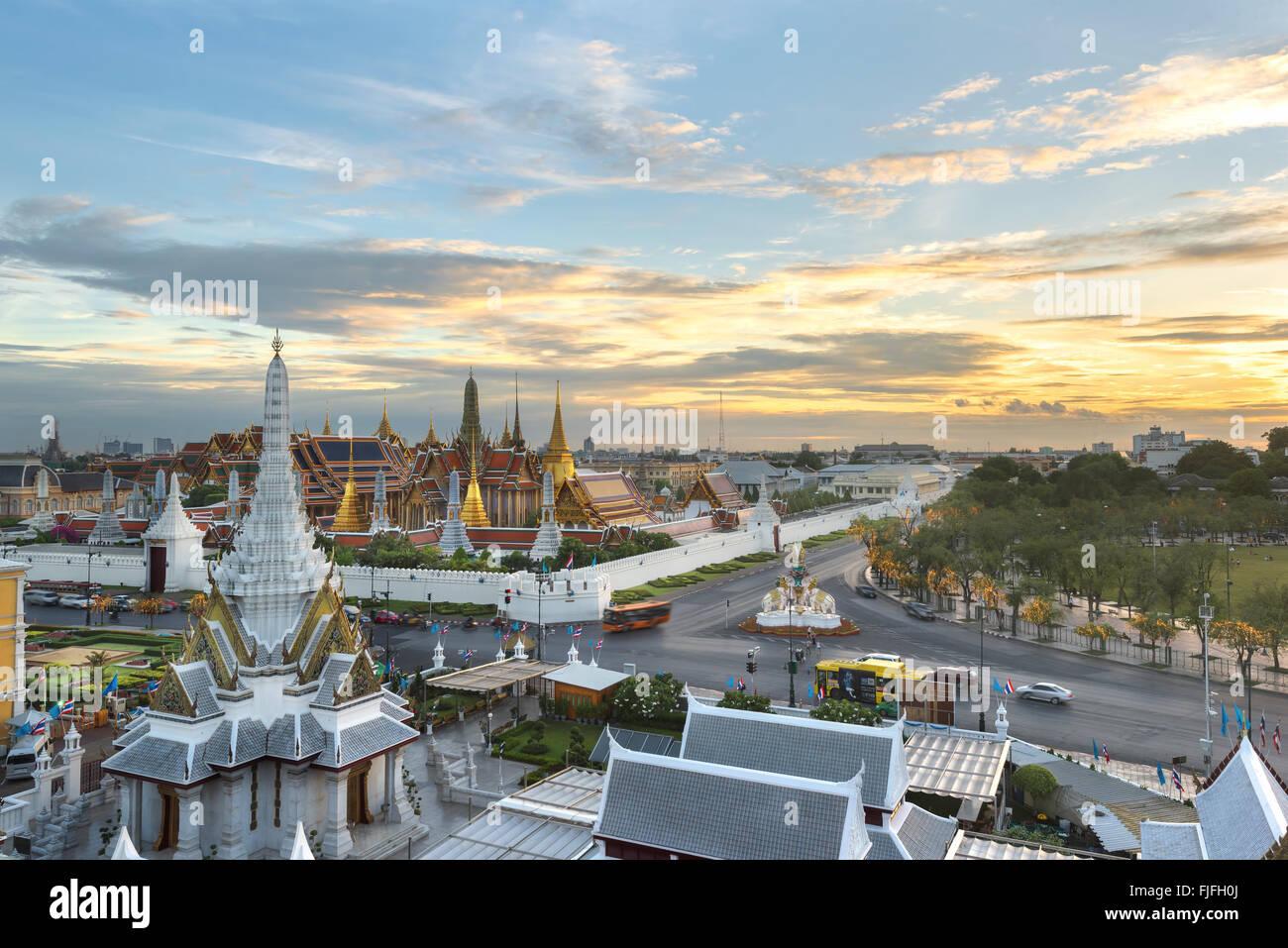 Grand palace and Wat phra keaw at sunset bangkok, Thailand - Stock Image