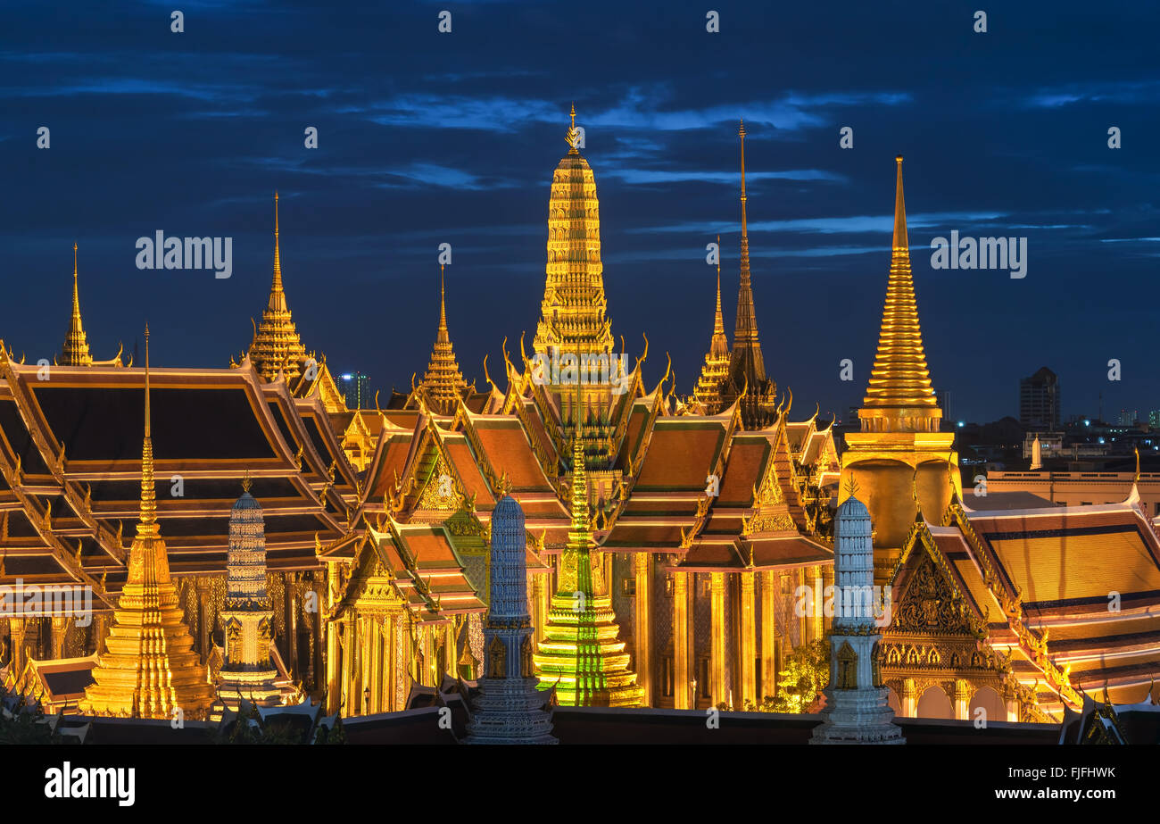 Grand palace and Wat phra keaw at sunset bangkok, Thailand - Stock Image