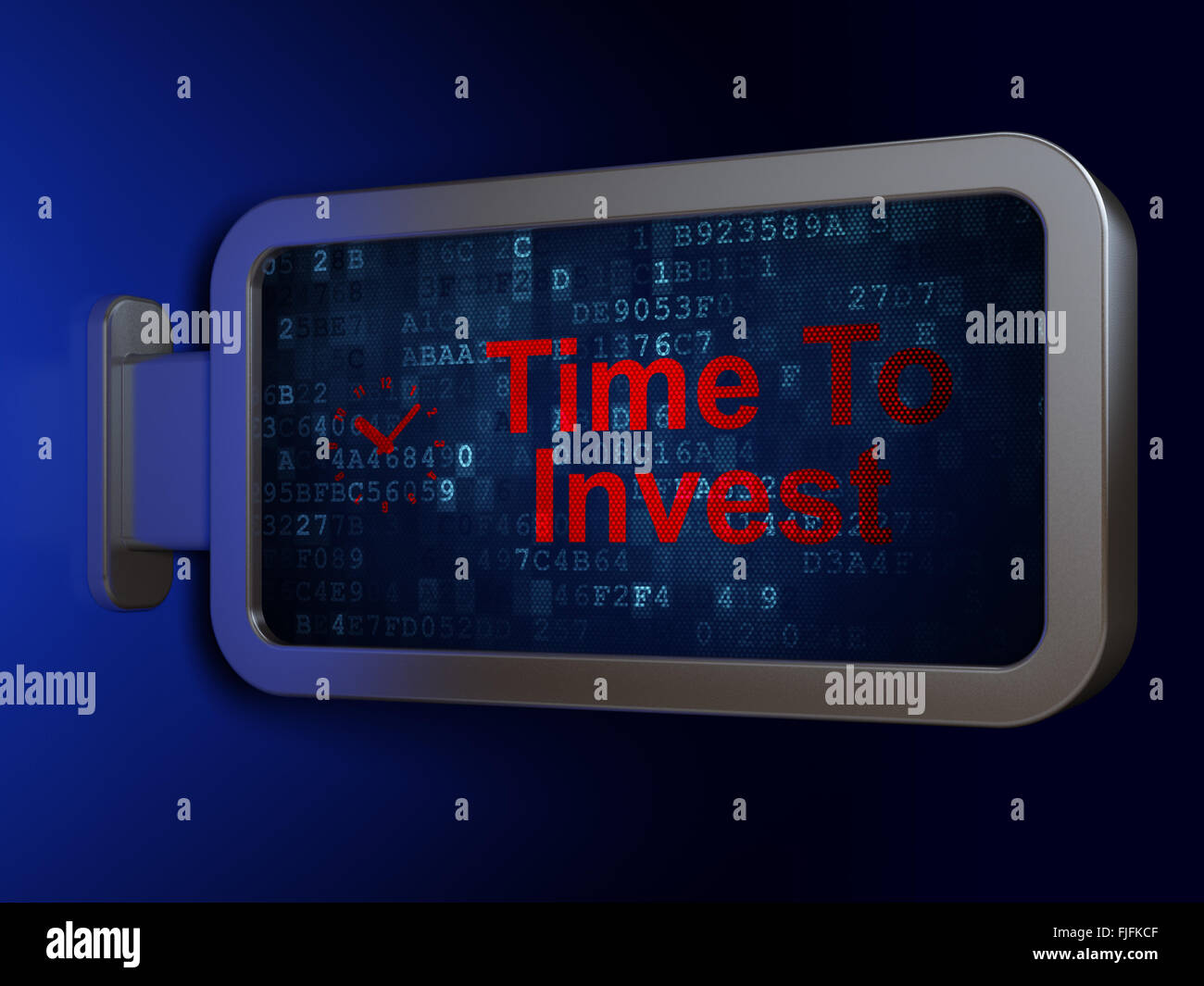 Time concept: Time To Invest and Clock on billboard background - Stock Image