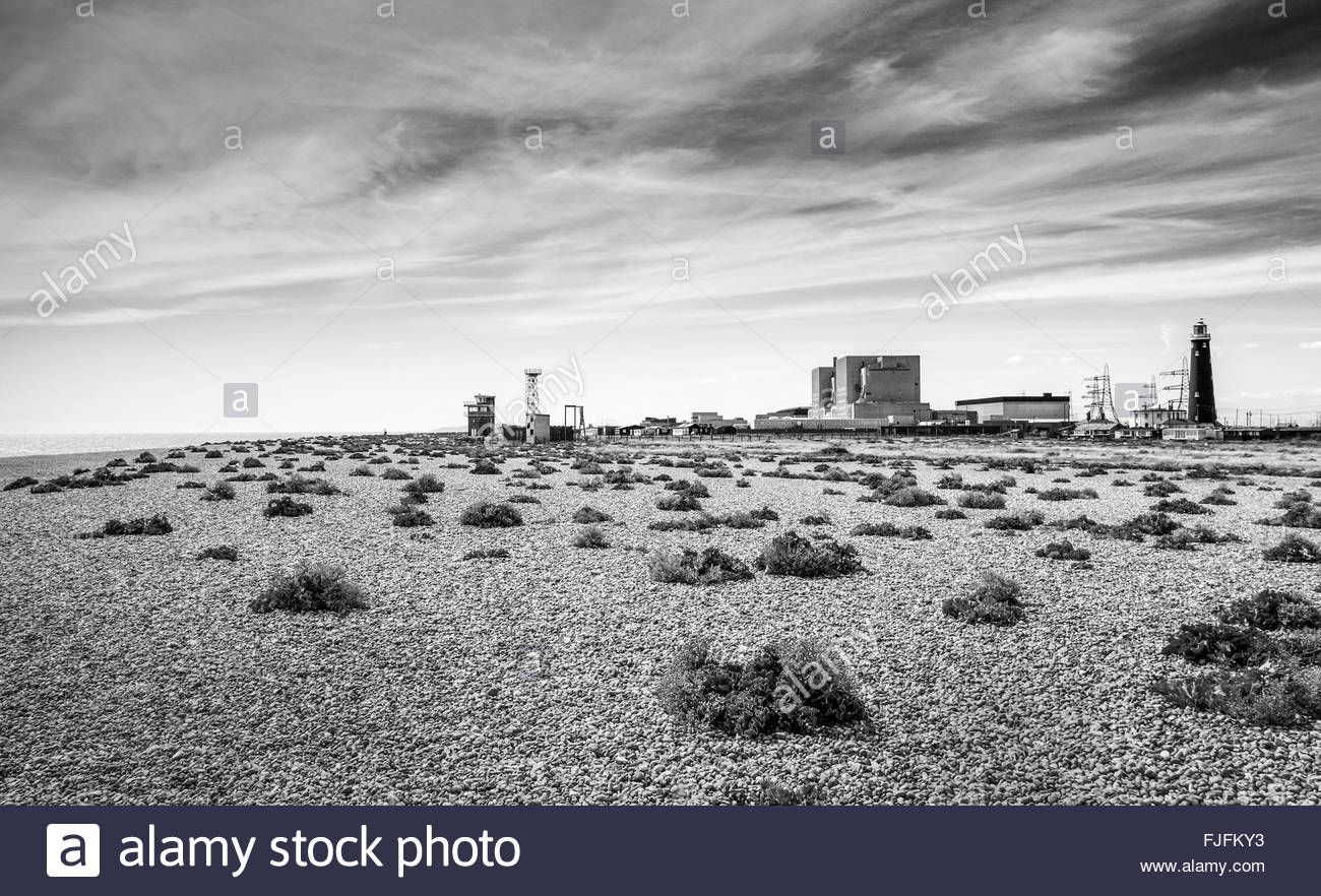 Dungeness Power Station B with lighthouse - Stock Image
