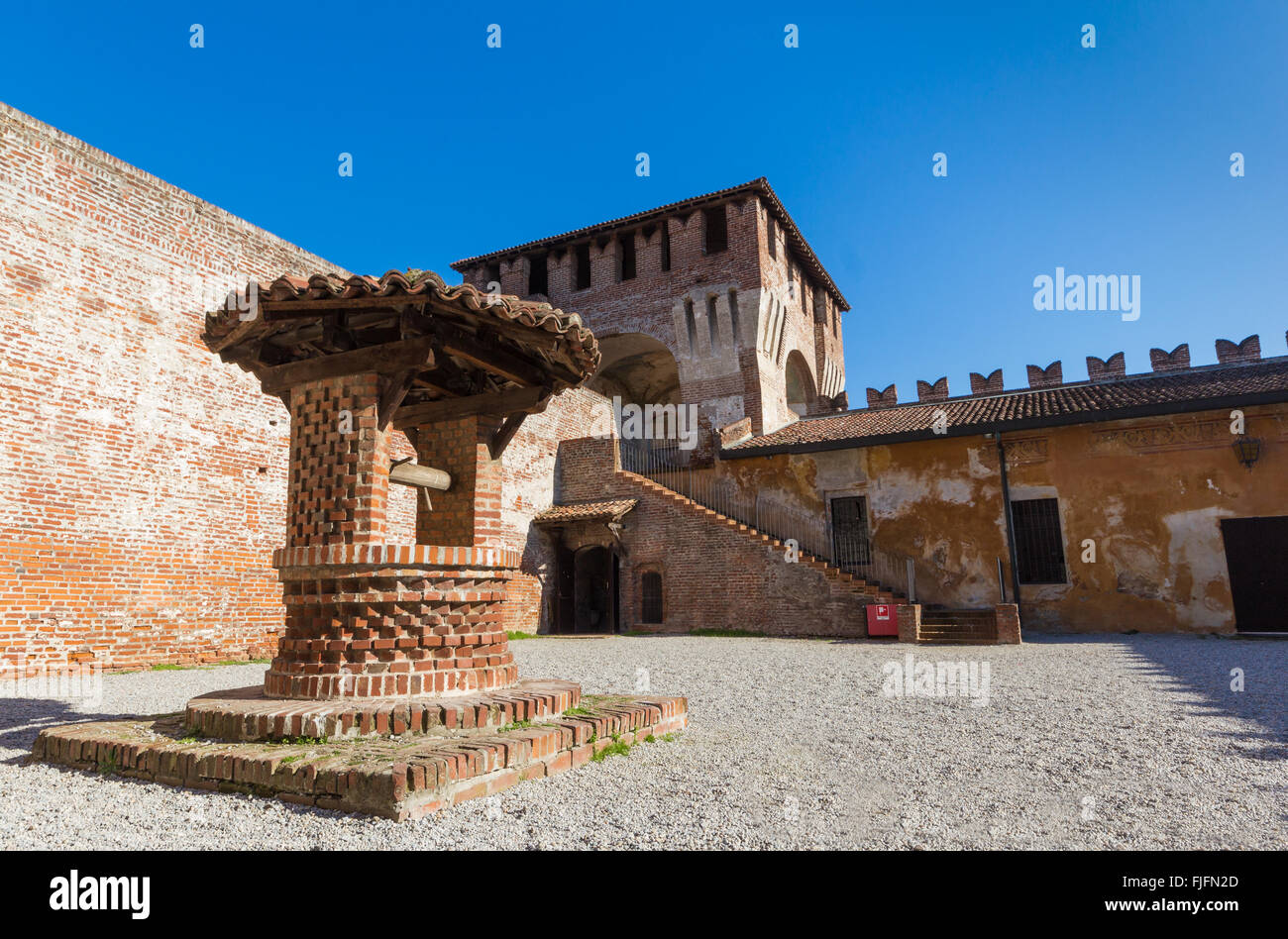 medieval castle of Soncino in the province of Cremona near Milan, Italy - Stock Image