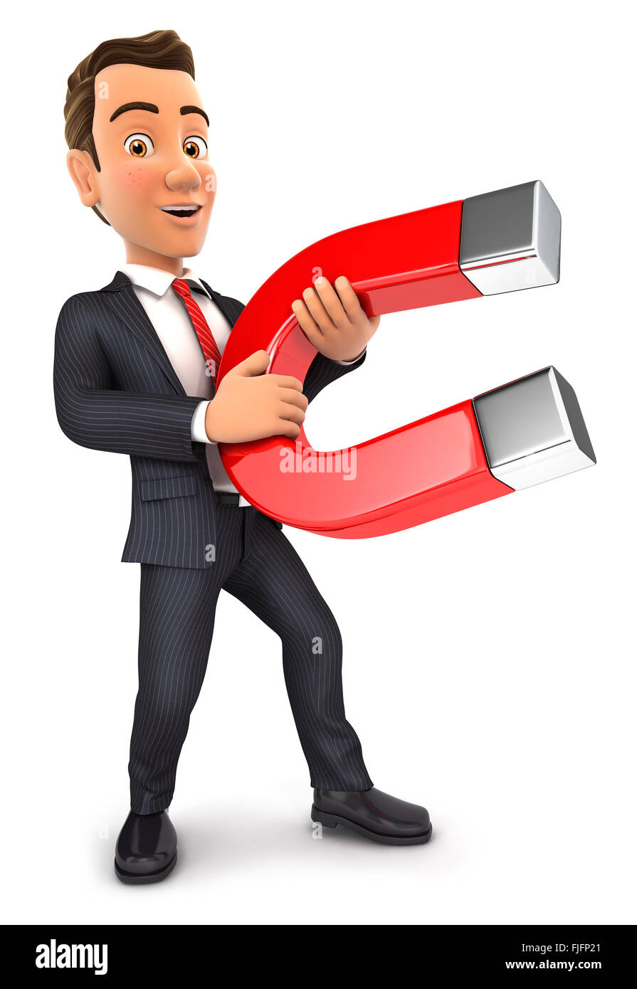 3d businessman holding a magnet, isolated white background Stock Photo