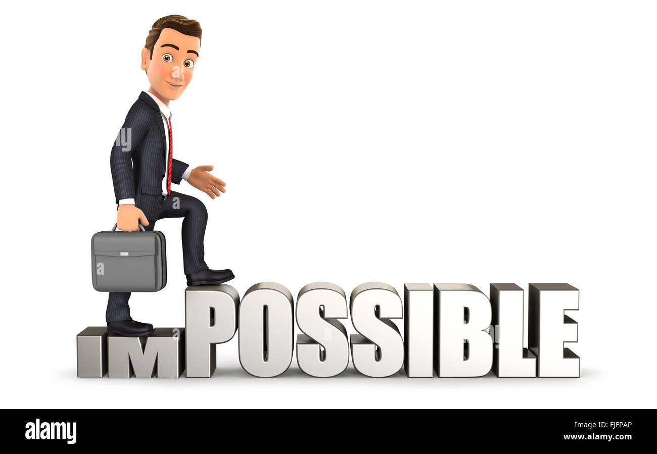 3d businessman turning impossible into possible, isolated white background Stock Photo