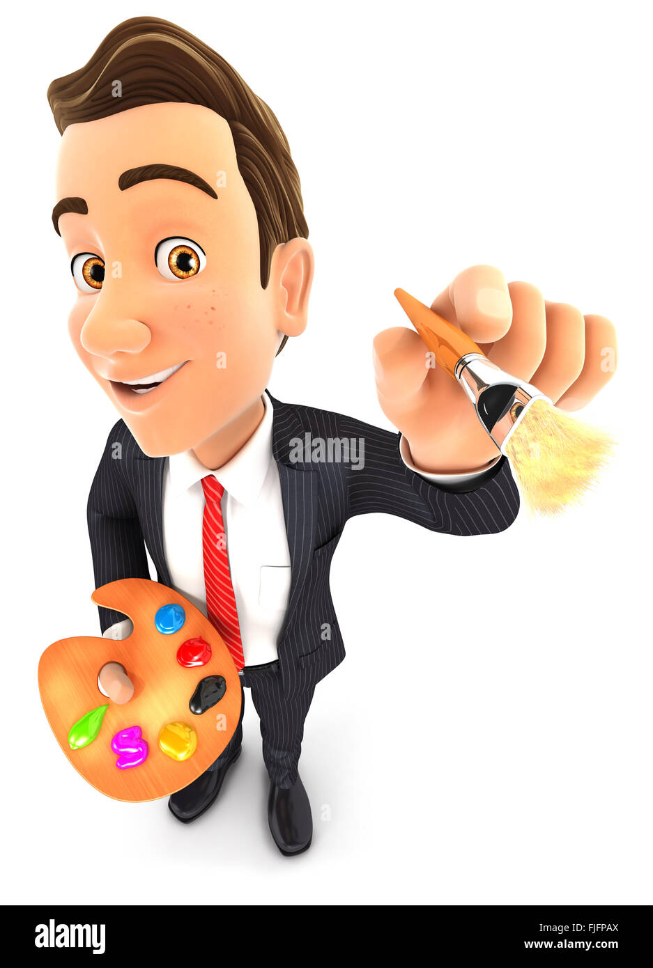 3d businessman with color palette and paint brush, isolated white background Stock Photo