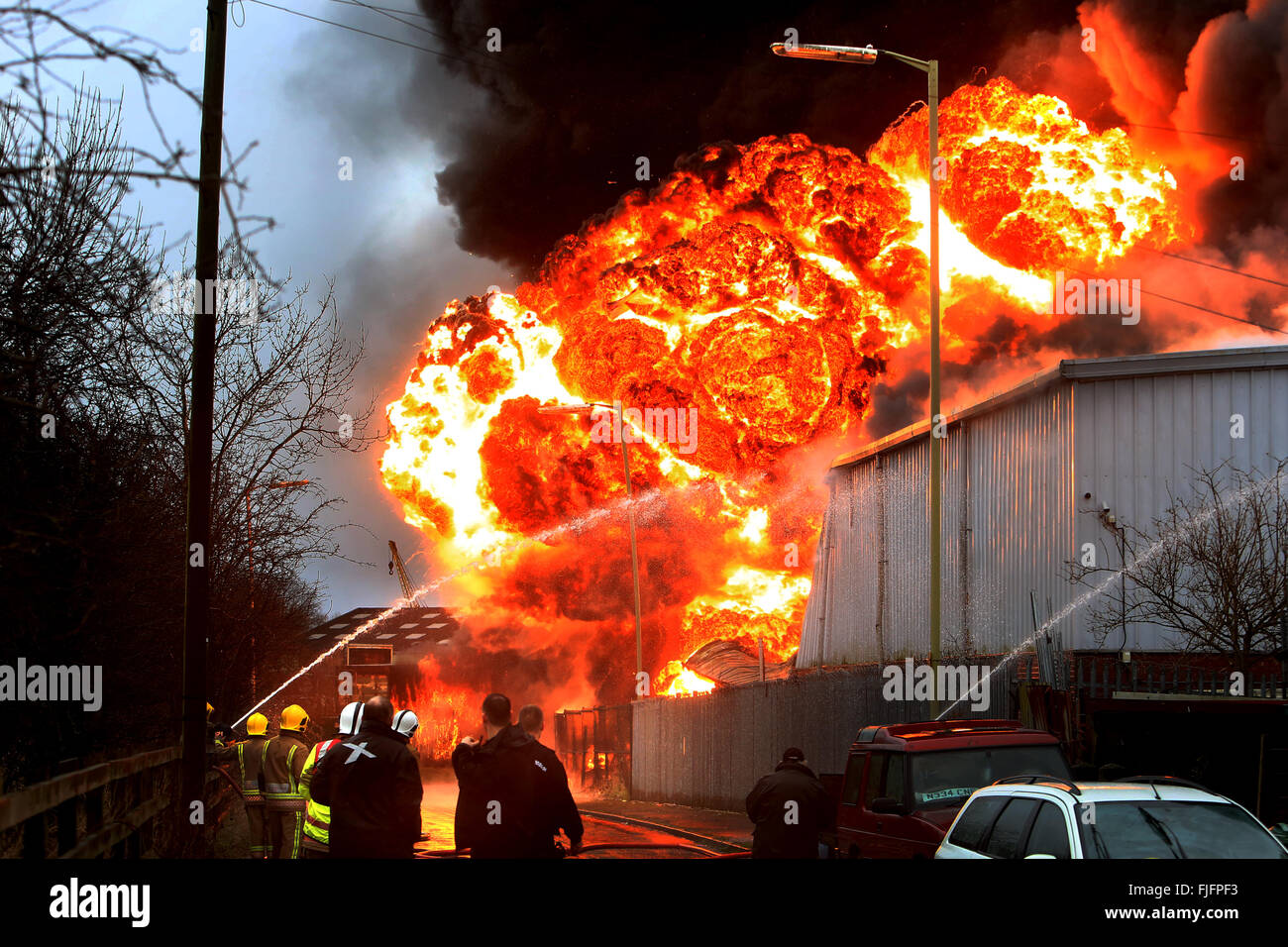 Stafford, UK. 2nd March, 2016. An explosion rips through an industrial estate and tears across a residential street - Stock Image