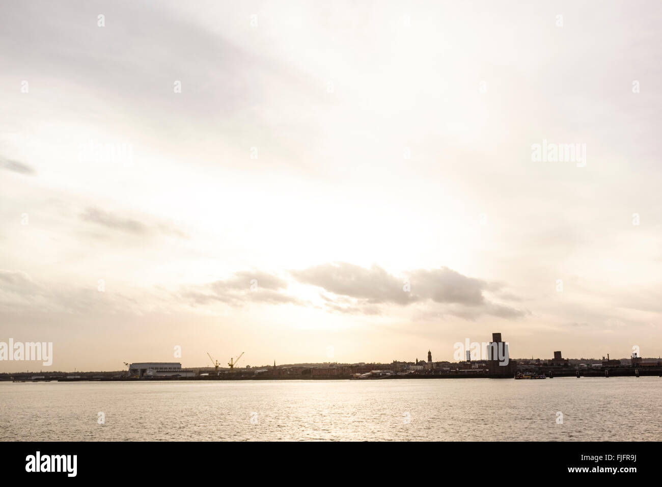 River Mersey looking south from Liverpool, Merseyside. - Stock Image