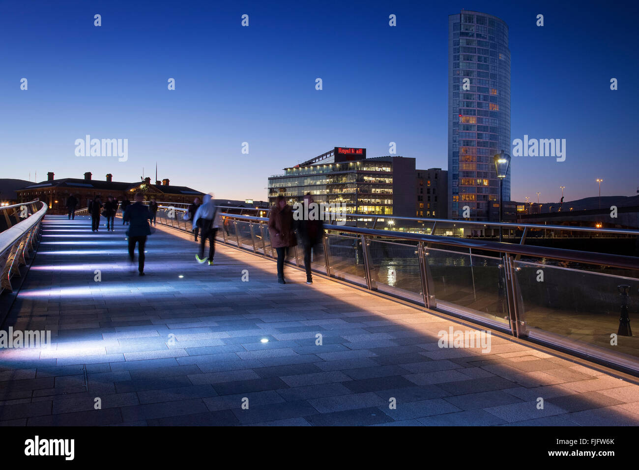 Lagan weir pedestrian and cycle bridge Belfast Northern Ireland at dusk - Stock Image