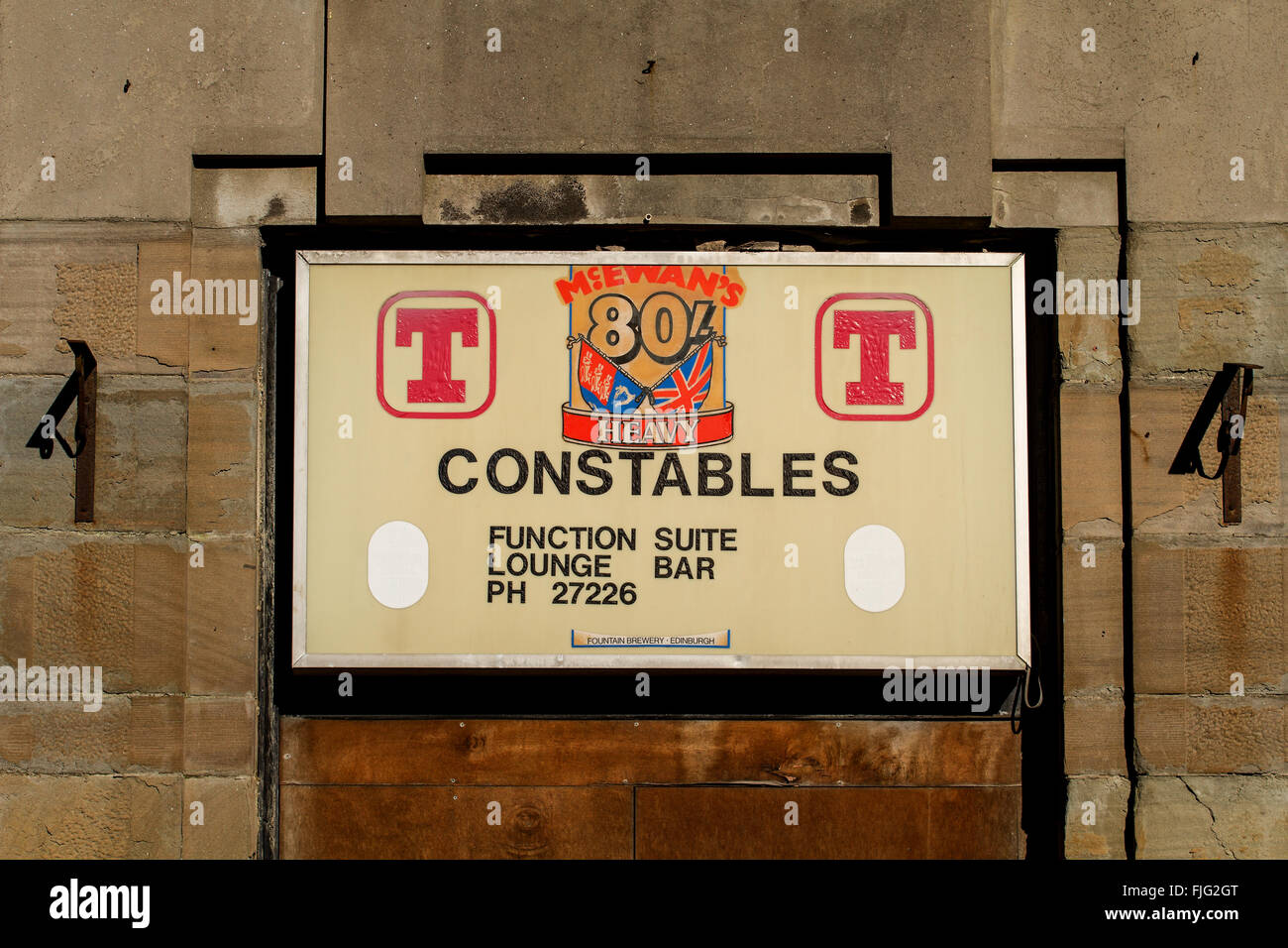 Scottish pub sign at the entrance of an abandoned pub called 'Constables' which hit the 1995 news headlines - Stock Image
