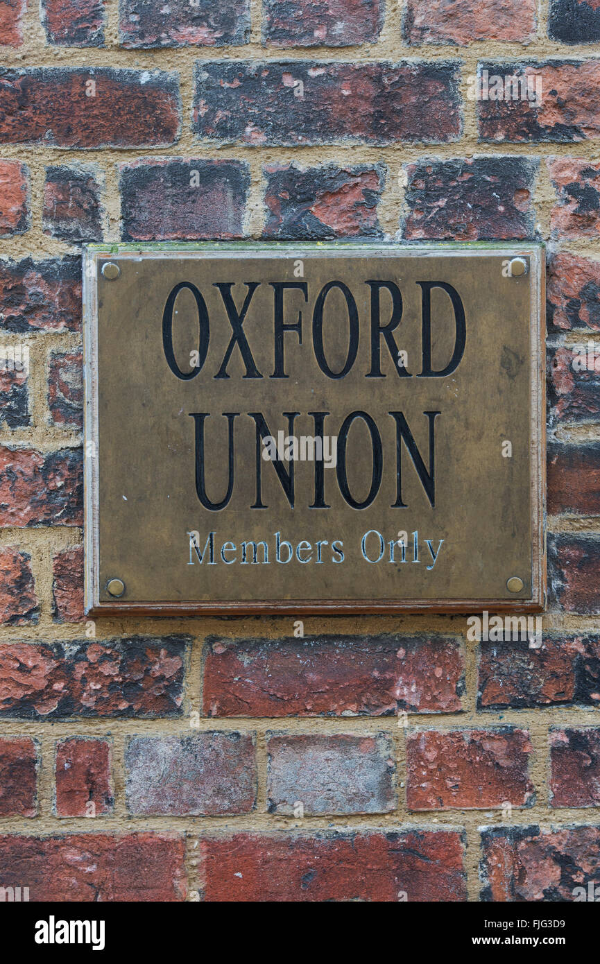 Oxford Union debating club members only sign. Oxford, England - Stock Image