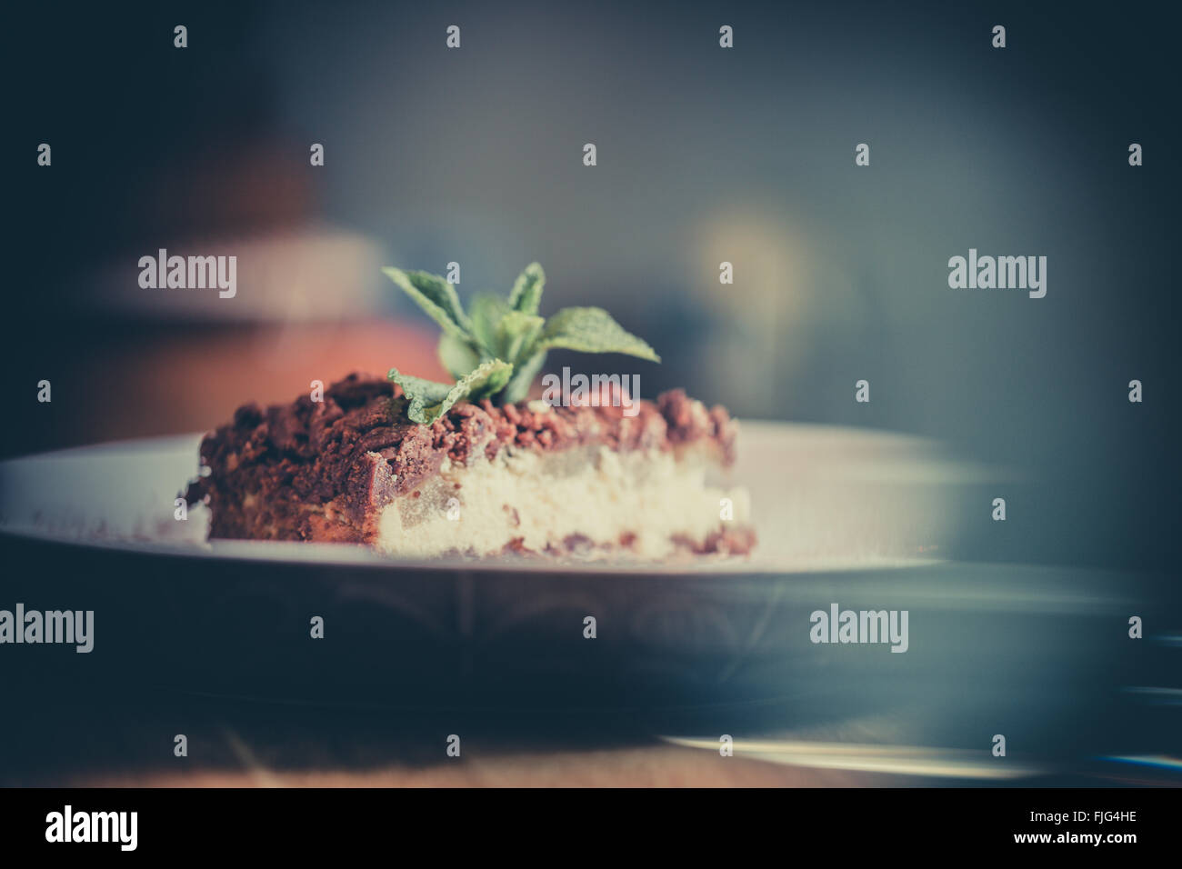 Food Cake Bake Cheesecake Plate Sweet - Stock Image