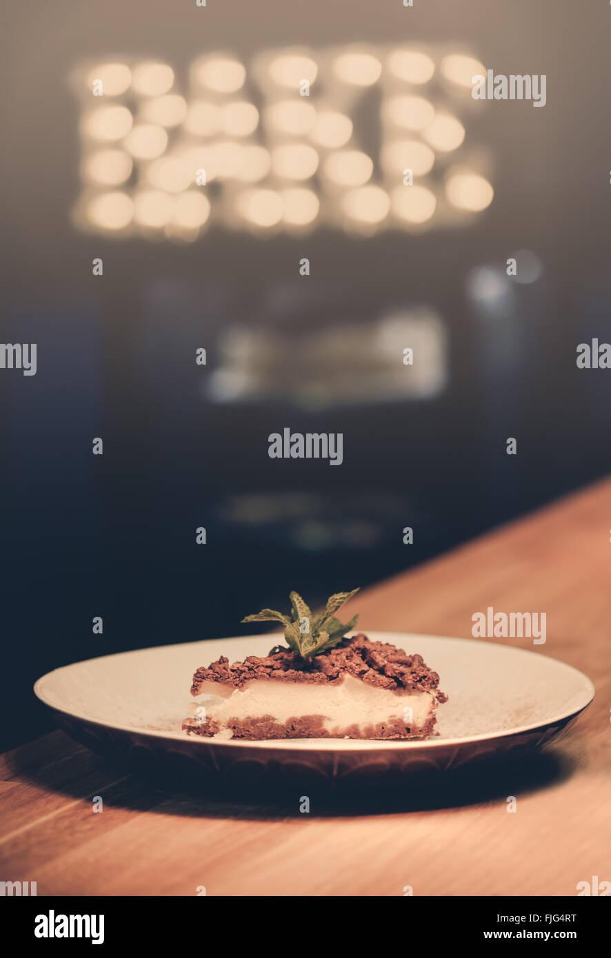 Food Cake Bake Cheesecake Plate Sweet - Stock Image