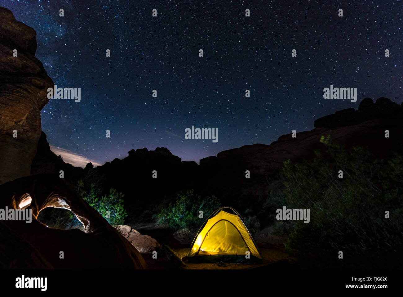 Tent on a campsite with starry sky above, night scene, Wildrose Campground, Death Valley National Park, California, - Stock Image