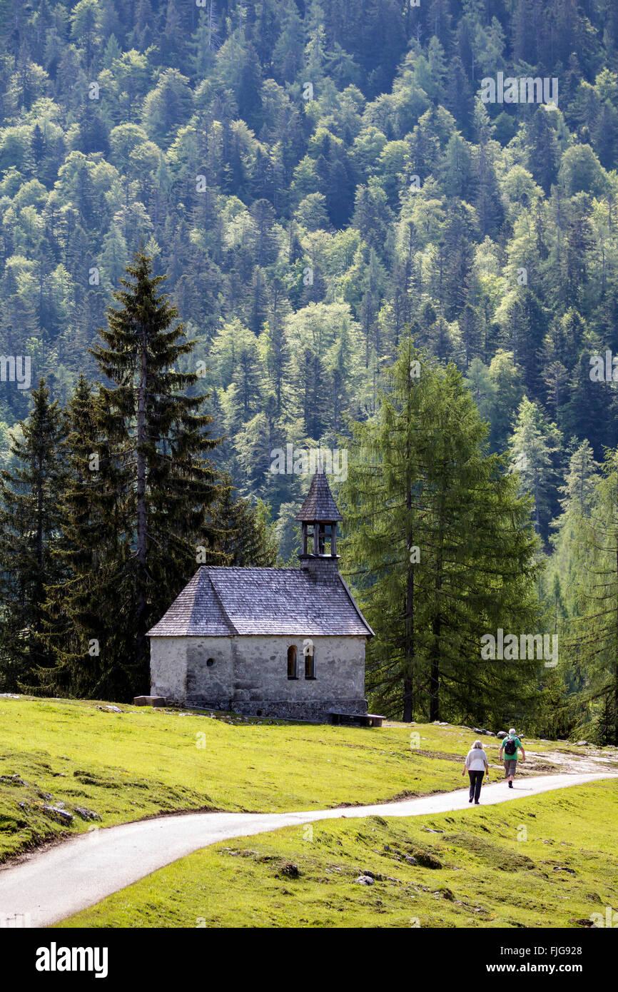St. Anne's Chapel on the Hemmersuppenalm, Reit im Winkl, Upper Bavaria, Bavaria, Germany - Stock Image