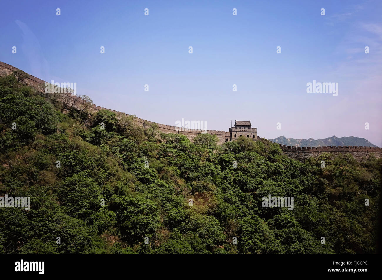 Great Wall of China | Seitenansicht Grosse Mauer von China - Stock Image
