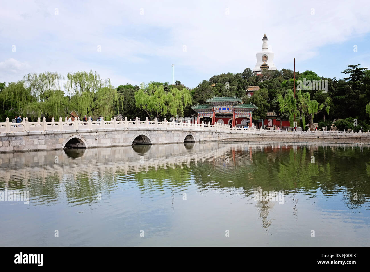 A view of Jade Flower Island and the White Pagoda in Beihai Park in Beijing Stock Photo
