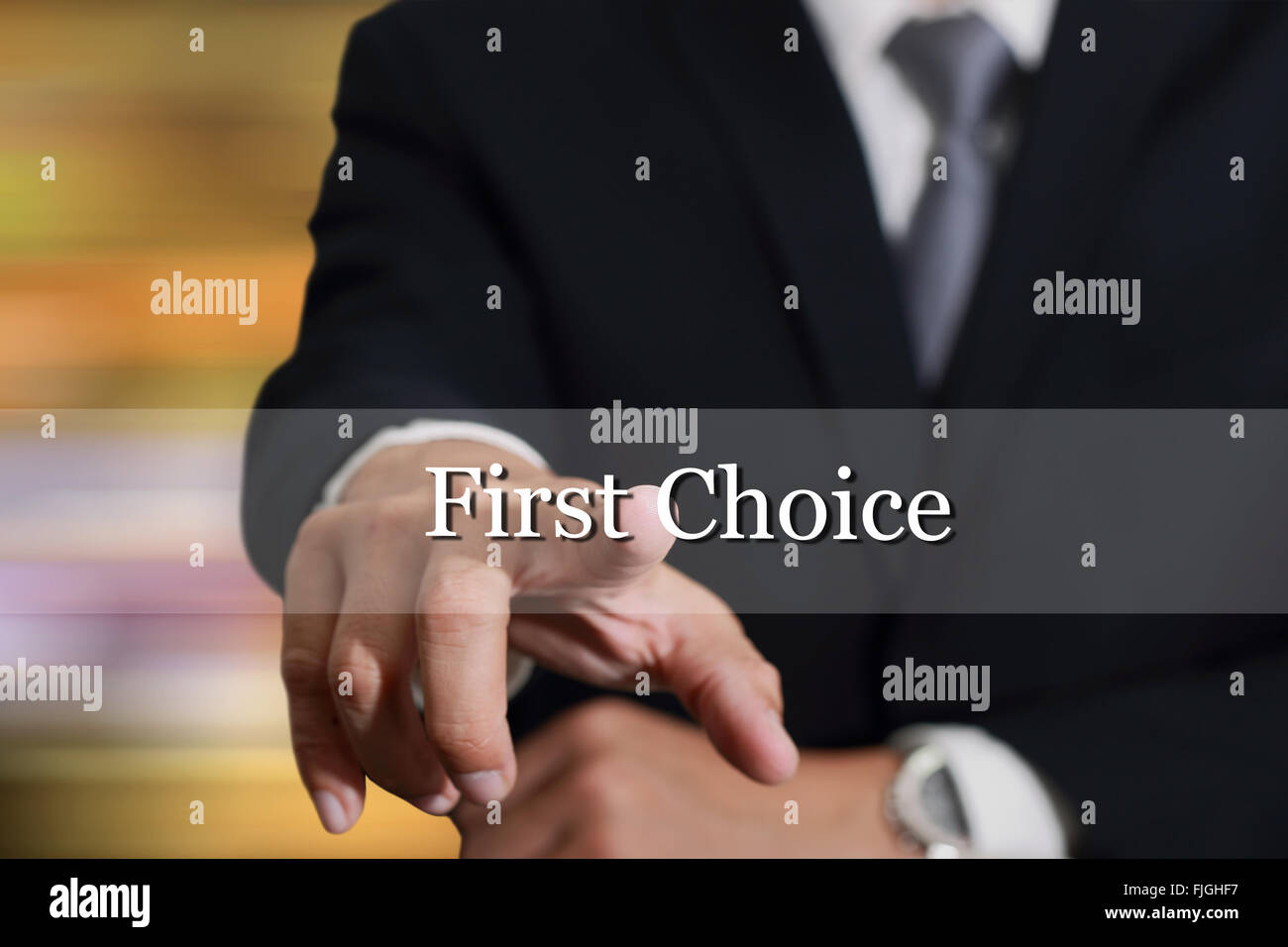 Businessman hand touching First Choice sign on virtual screen as Good Options concept. - Stock Image