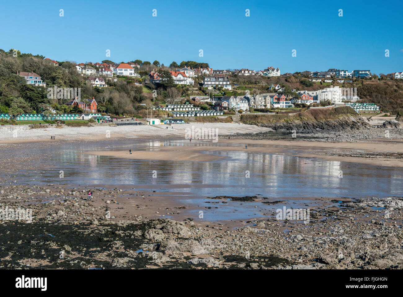 Langland Bay on the AONB Gower peninsula, south Wales - Stock Image