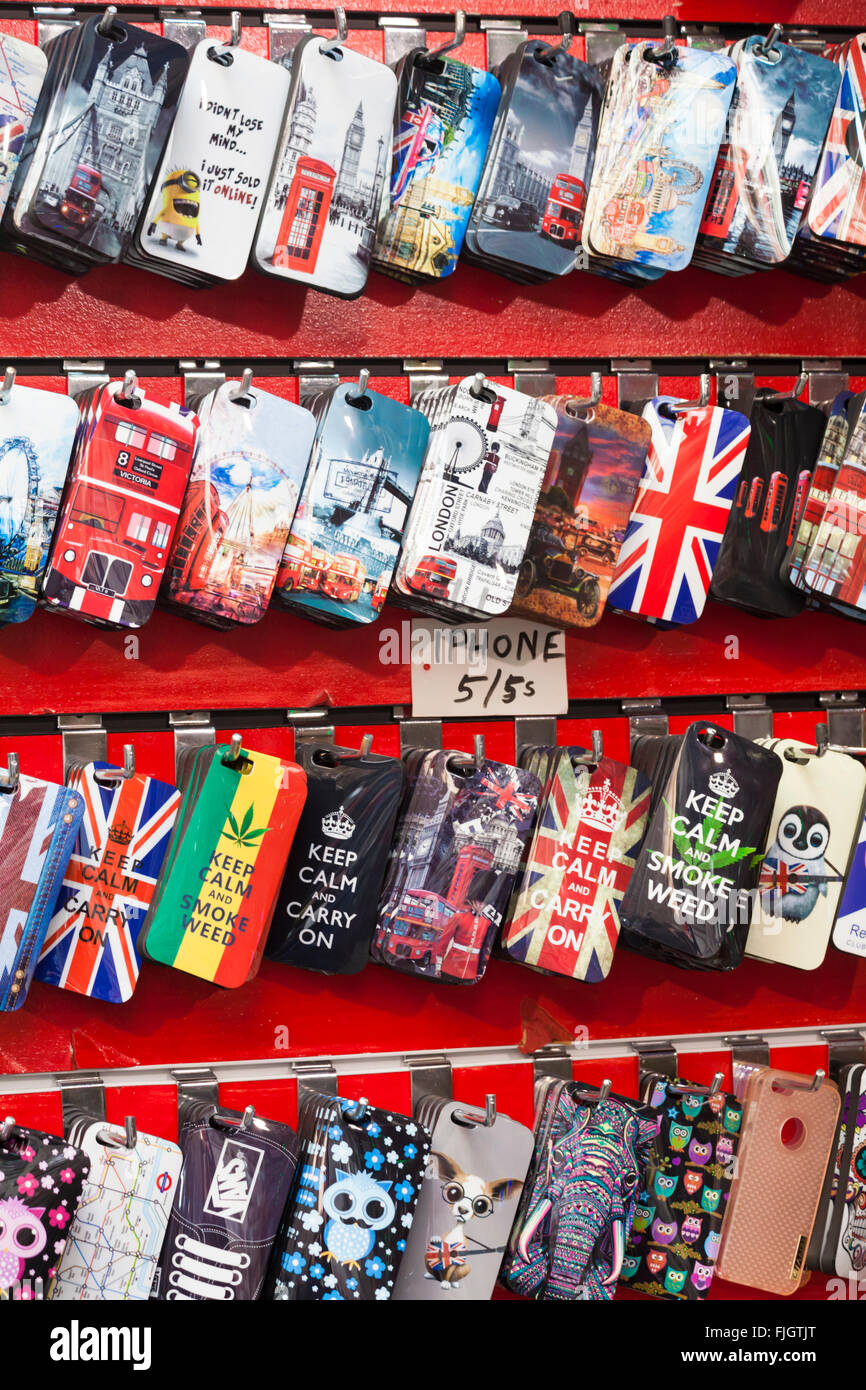 iphone 5 and 5s cases for sale at Camden Town, London - Stock Image