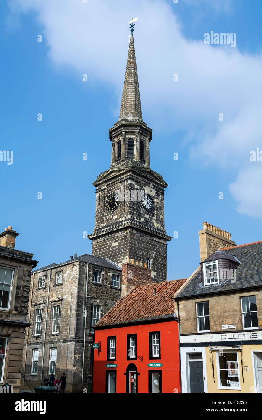 The newly restored spire of Haddington Townhouse, the old council chambers for the county of East Lothian in Scotland. - Stock Image