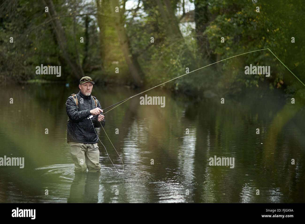 A man fly fishing in a river - London, UK - Stock Image