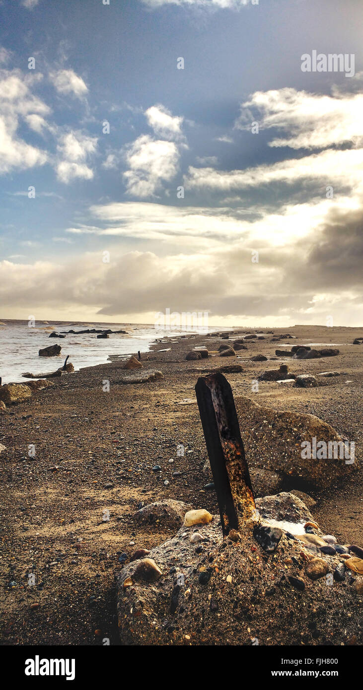 seaside landscape wit the wooden pole on the sand - Stock Image