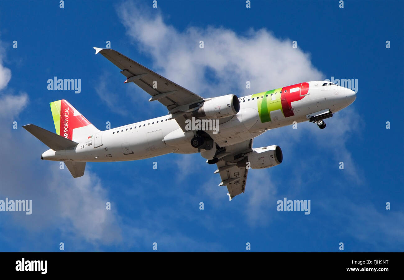 A TAP Portugal Airbus A320-214 taking off from El Prat Airport in Barcelona, Spain. - Stock Image