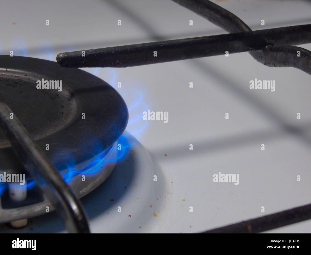 gas ring stove, flame - Stock Image