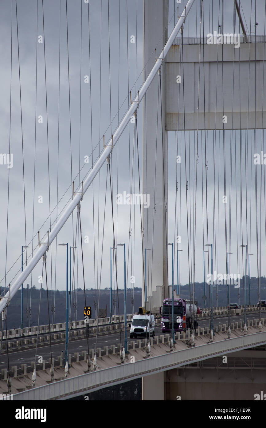 River Severn Bridge, Bristol, UK. 2nd March, 2016. Strong, gusty winds have caused difficult driving conditions - Stock Image