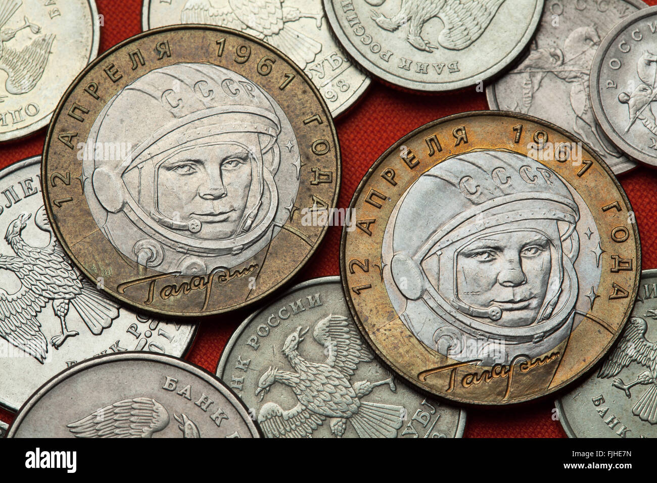 Coins of Russia. First Soviet cosmonaut Yuri Gagarin depicted in the Russian commemorative 10 ruble coin. - Stock Image