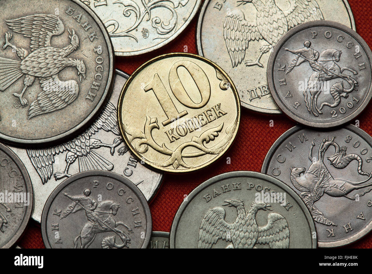 Coins of Russia. Russian 10 kopek coin. - Stock Image