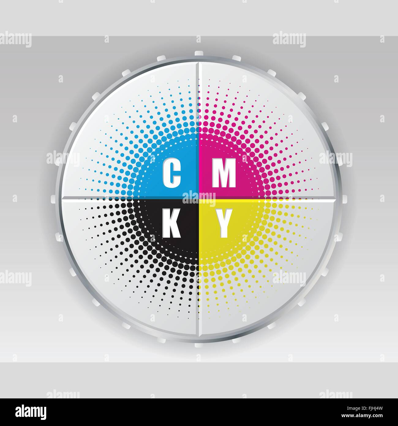 Abstract digital button design with cmyk halftone - Stock Image