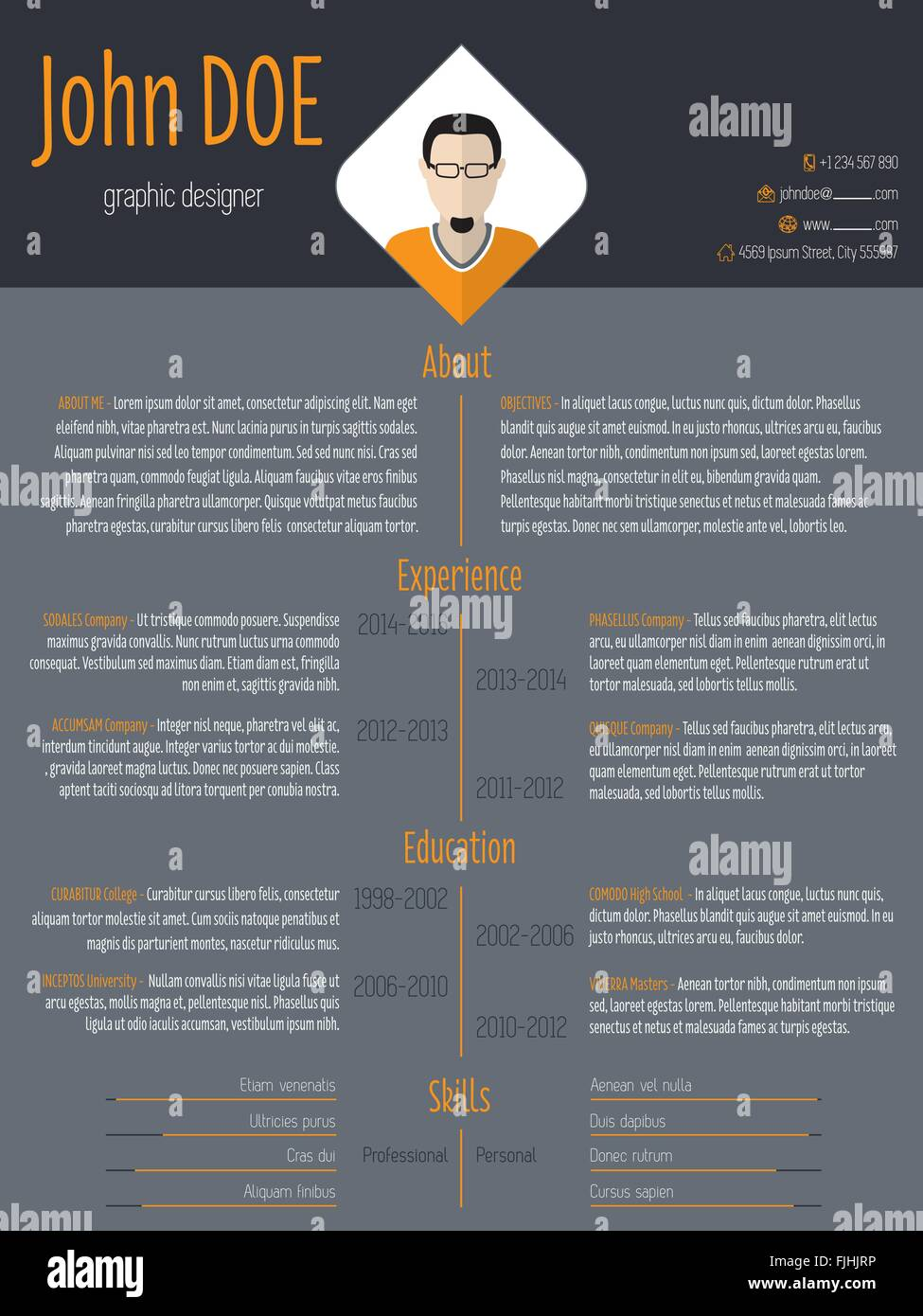 cool curriculum vitae resume cv template with photo and