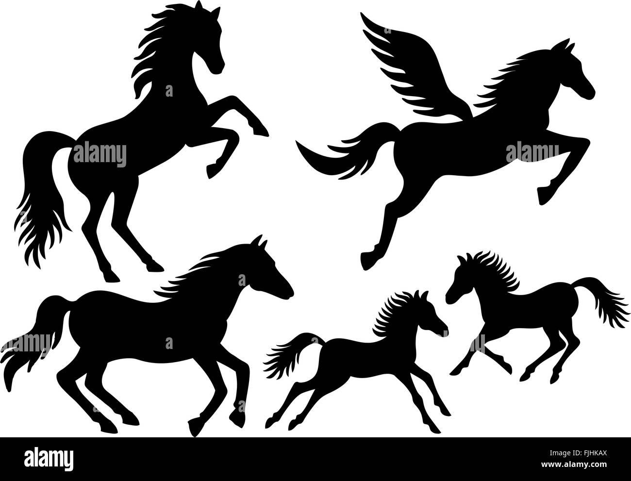 Black horses, running, jumping, flying silhouettes, vector set - Stock Image