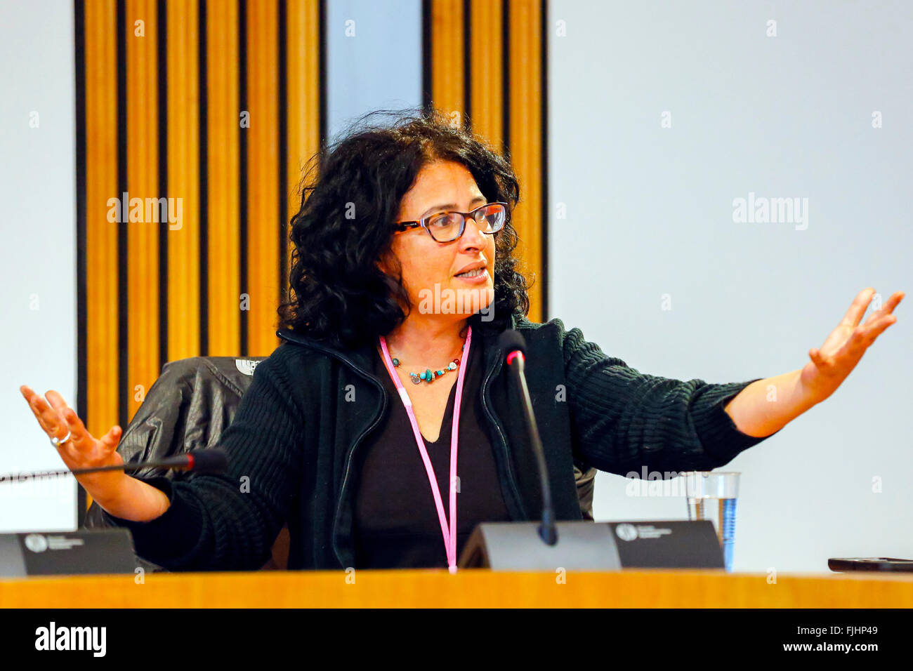 Edinburgh, UK. 02nd Mar, 2016. Sharon Dolev, Founder and Director of Israeli Disarmament Movement was welcomed to - Stock Image