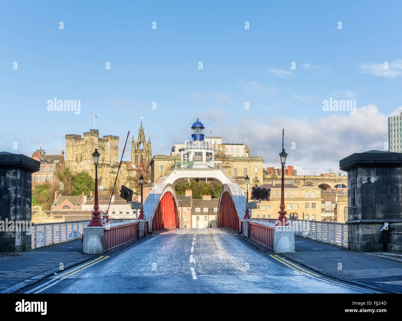 The Swing Bridge crossing the river Tyne from Gateshead to Newcastle - Stock Image