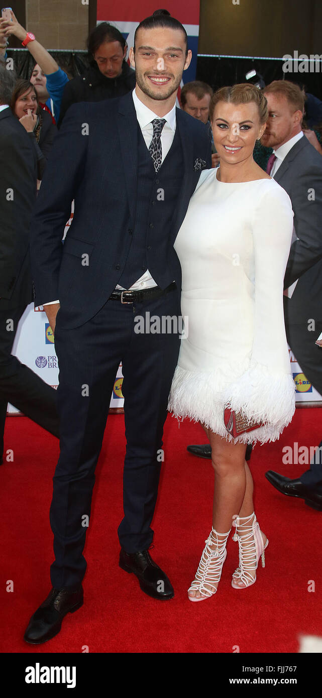 September 28, 2015 - Andy Carroll and Billi Mucklow attending The Pride of Britain Awards 2015 at Grosvenor House - Stock Image