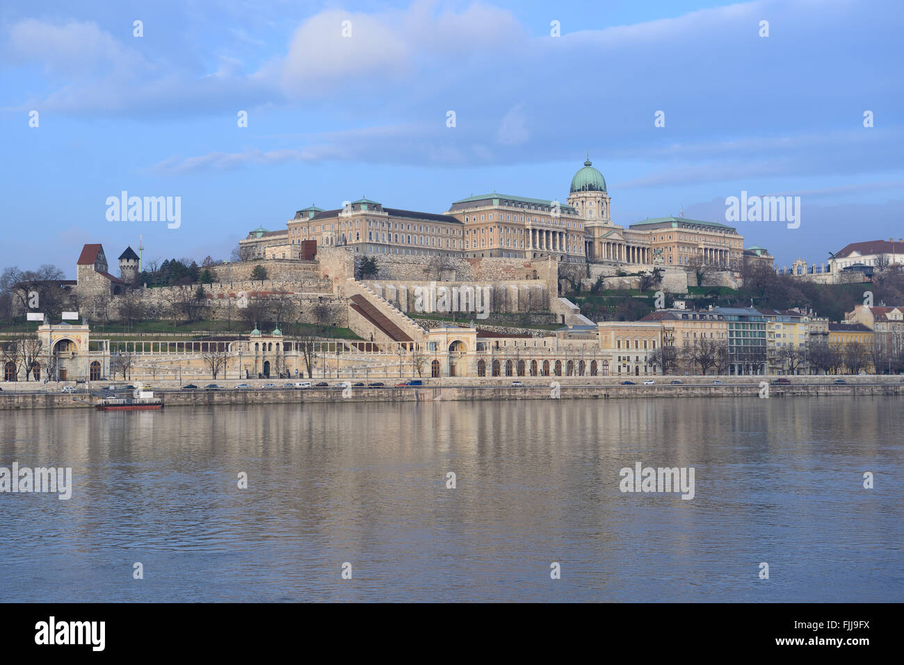 View on Castle Hill and Danube river from Pest in winter. Budapest, Hungary. Stock Photo