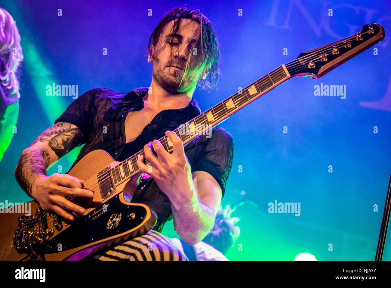 Wil Taylor of Inglorious on guitar - Stock Image