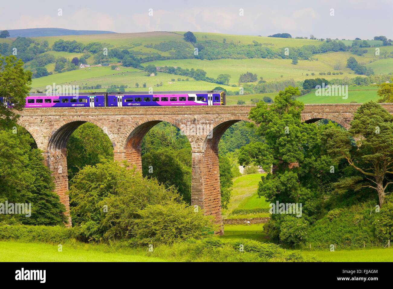Settle to Carlisle Railway Line. Sprinter passenger diesel train passing over Dry Beck Viaduct, Eden Valley, Cumbria, - Stock Image