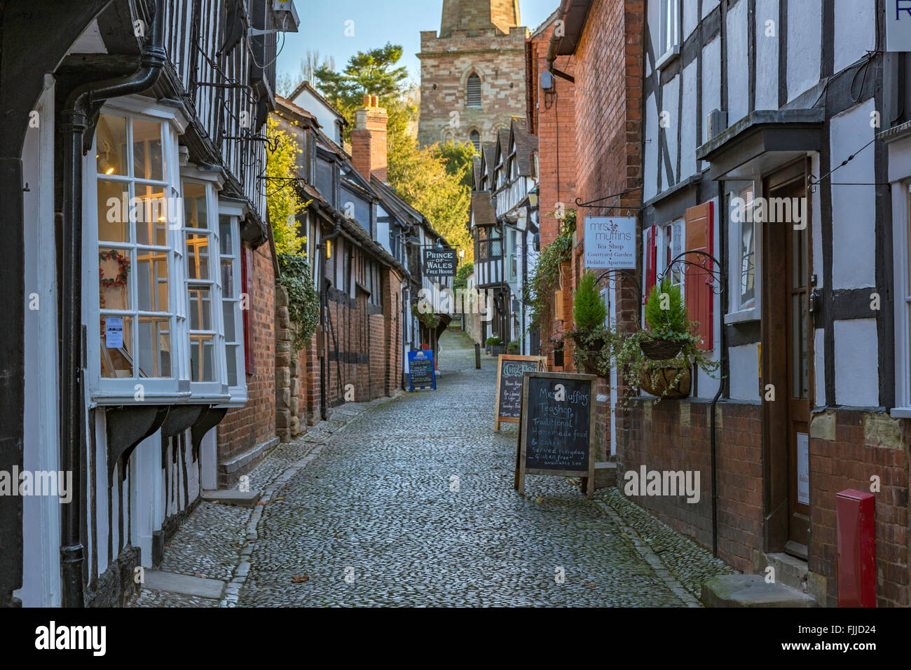 Church Lane in the historic rural town of Ledbury, Herefordshire, England, UK - Stock Image