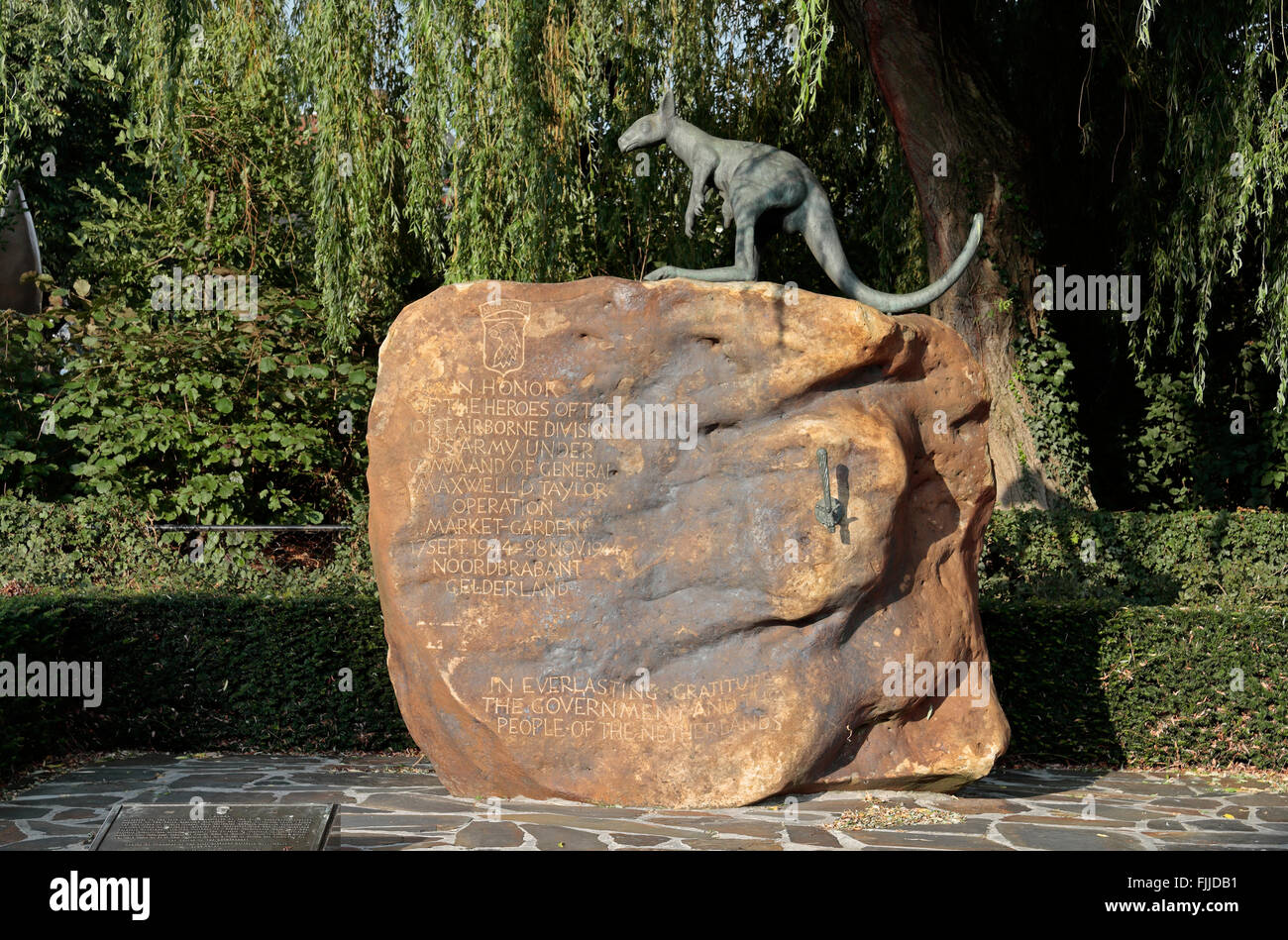 The 101st AB Memorial (designed by Neil Steenbergen) in Veghel, Netherlands. - Stock Image