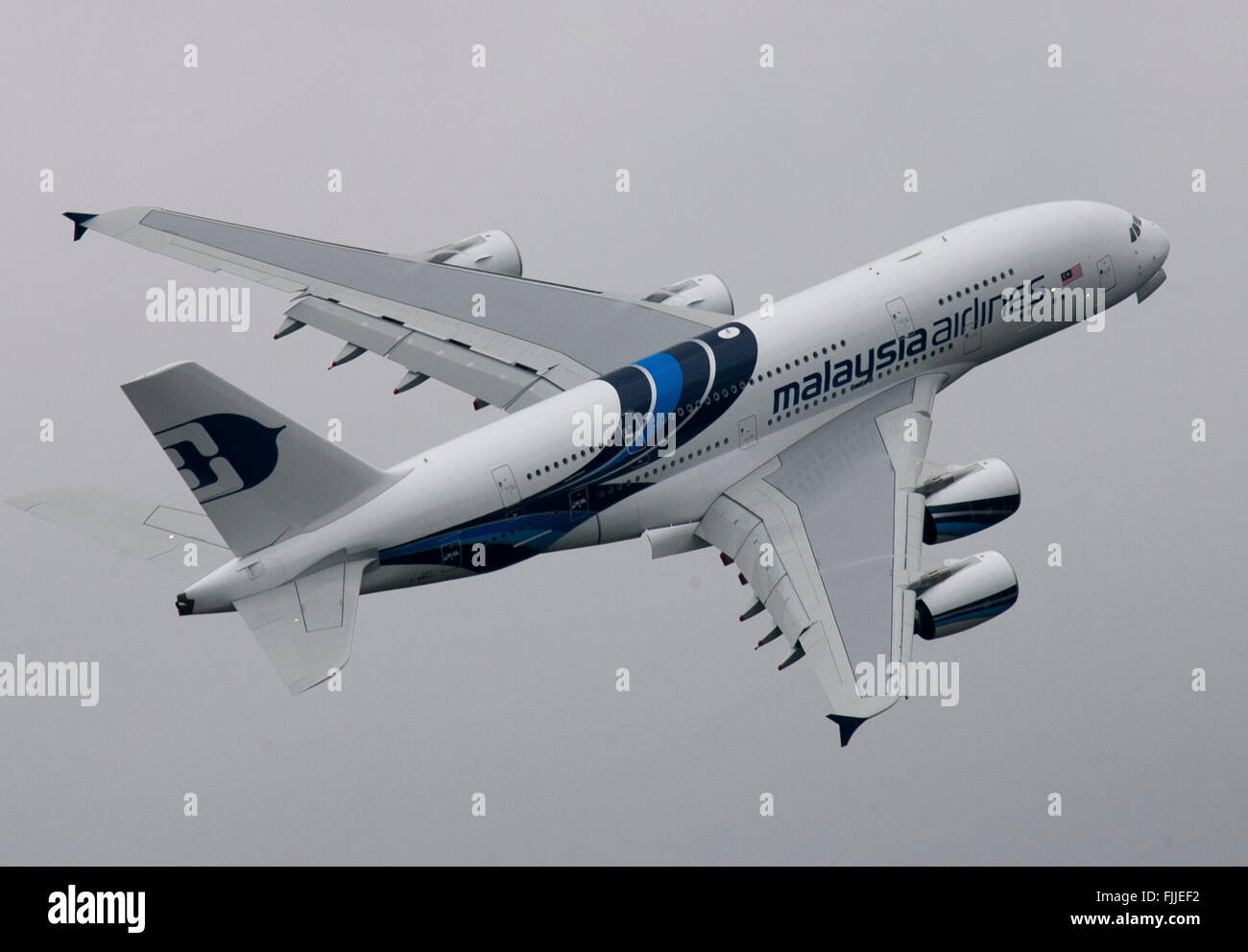 Airbus A380 Airliner Malaysia Airlines - Stock Image