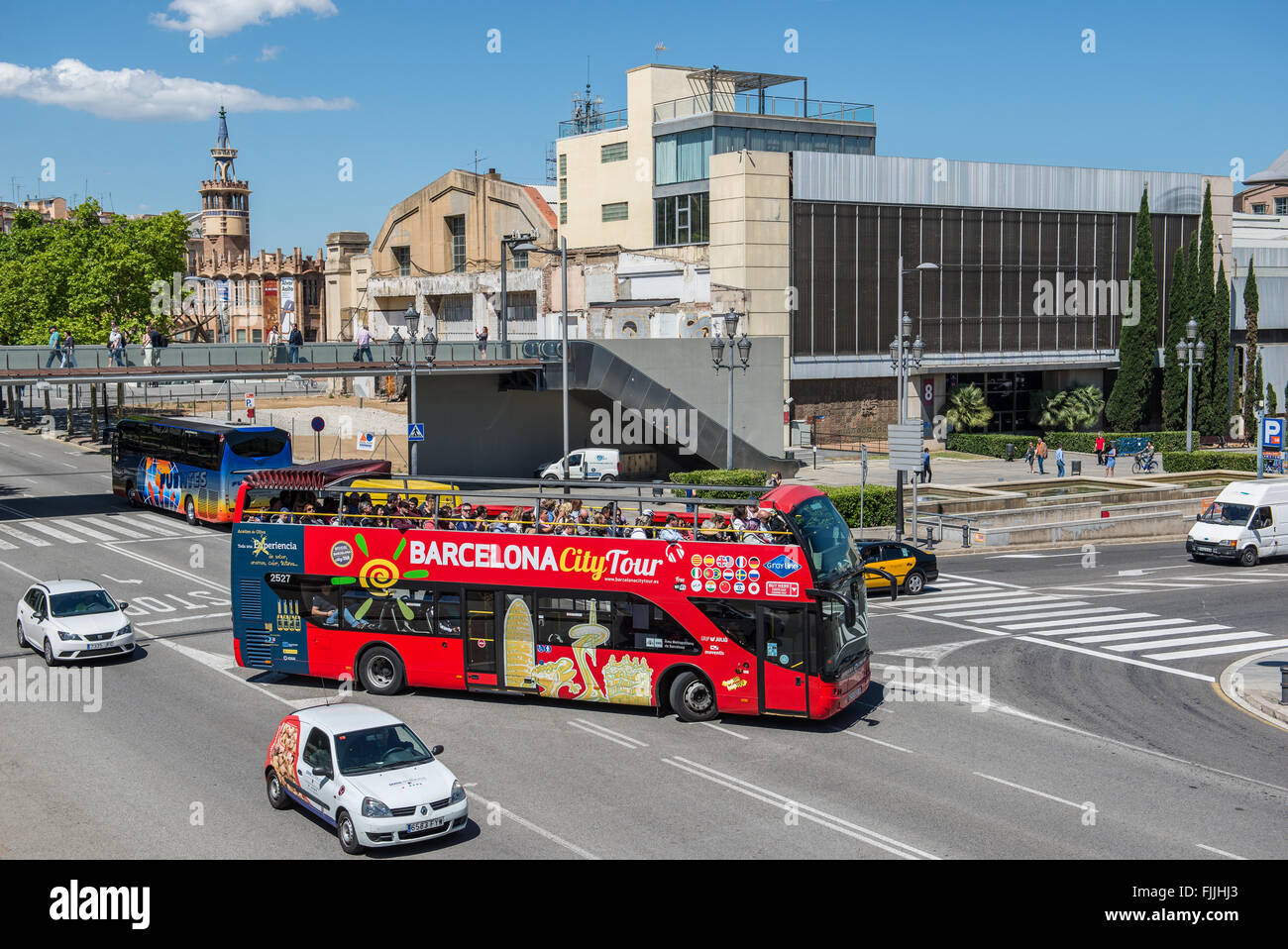 Caixa Forum tower and Metallurgical palace in Barcelona, Spain - Stock Image